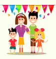 happy family with flags and confetti vector image