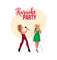 karaoke party contest banner poster with two vector image