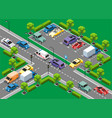 isometric urban traffic template vector image