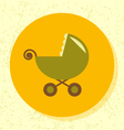 round icon green stroller symbol baby toy vector image