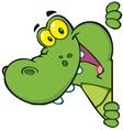 happy alligator looking around a sign vector image vector image