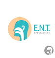 ENT logo template Head silhouette sign for ear vector image