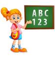 girl standing near the blackboard vector image