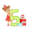 cute happy five year old girl in a red party hat vector image