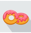 donut icon with pink glaze with long shadow vector image