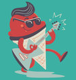 Crazy Ice Cream Cone Playing Electric Guitar vector image