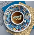 Cup of coffee marine doodle vector image