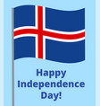 happy independence day of iceland vector image