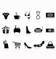 luxury shopping icons set vector image