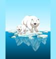 mother polar bear and cub on ice vector image