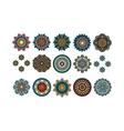 Round tribal decorative elements set vector image