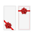 set of white holiday gift card with red ribbon and vector image