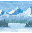 Winter landscape Mountains and trees in the vector image