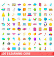 100 e-learning icons set cartoon style vector image