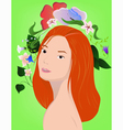 Redhead girl with flowers vector image