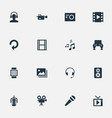 set of simple media icons vector image