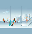 business people in airport terminal vector image