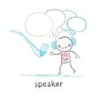 speaker in headphones speaks into a microphone vector image vector image