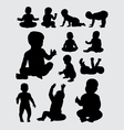 Baby activity silhouettes vector image vector image