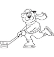 Cartoon bear playing hockey vector image