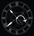 clock old white on black vector image vector image