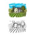 village and landscape vector image