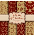 Christmas Collection of seamless patterns with red vector image