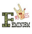 feminism slogan fashion camouflage print vector image