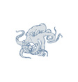 Giant Octopus Fighting Astronaut Drawing vector image