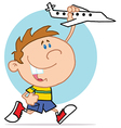 Happy Little Boy Playing With Airplane vector image vector image