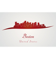 Boston skyline in red vector image