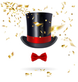 Cylinder Hat with Bow Tie and Confetti vector image