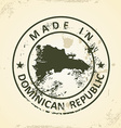 Stamp with map of Domican Republic vector image