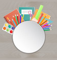 back to school supplies on a wooden table vector image