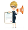 Business woman holding contract and megaphone vector image