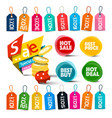Discount labels set colorful tags vector image