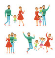 happy family mother father and kids characters vector image