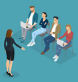 isometric people briefing vector image