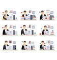 male office worker daily work scenes with vector image