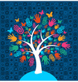 Diversity tree hands background vector image