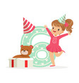 adorable happy six year old girl in a party hat vector image
