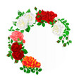foral round frame with roses and buds vintage vector image