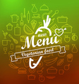 Vegetarian menu label design lineart concept vector image