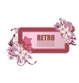 retro frame with floral and stars vector image vector image