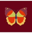 Colorful icon of butterfly isolated on red vector image