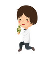 cute husband with flowers avatar character vector image