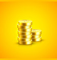 pile of coins on the orange background vector image