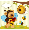 teddy bear dressed as a bee vector image