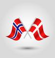 two crossed norwegian and danish flags vector image