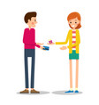 young girl-seller offers gift in festive package vector image